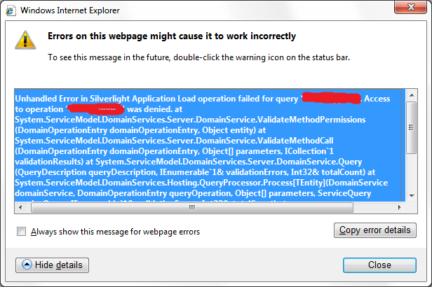 ria services silverlight access to operation error was denied